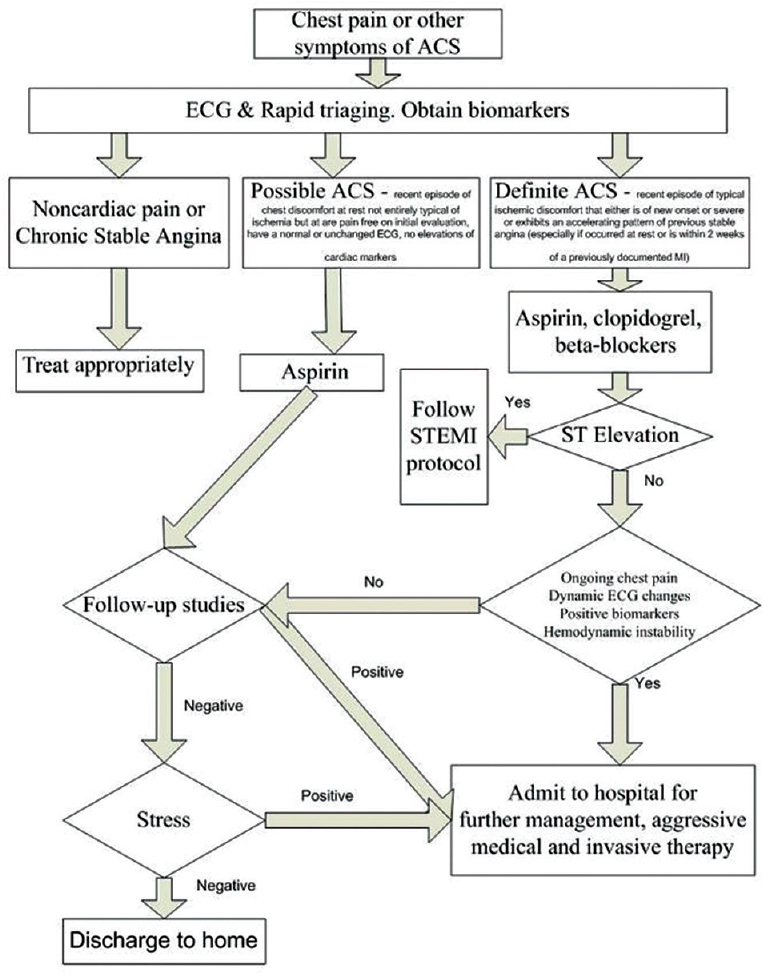 Figure 1: Suggested algorithm for triaging patients with chest pain. ACS, acute coronary syndrome.