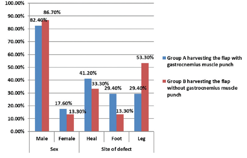 Figure 2: Statistical analysis SPSS, version 20, percentage of male to female and percentage of site of defects in each group.